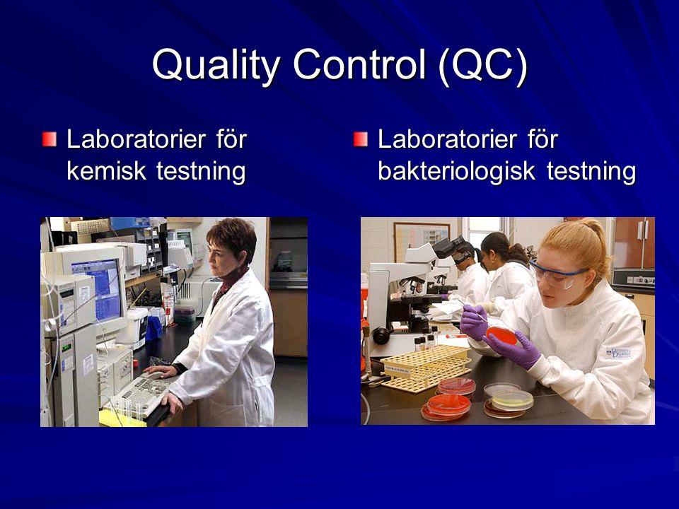 Quality Assurance (QA) Kvalitetssäkring (QA) granskar att GMP/GLP-krav efterlevs Granskar kvalitetskontrollens (QC) testresultat Granskar rapporter och dokument Utför intern inspektion (auditering) av företagets kvalitetssystem, vanligen en gång om året Mindre företag och institutioner anlitar ibland QA på kontrakt