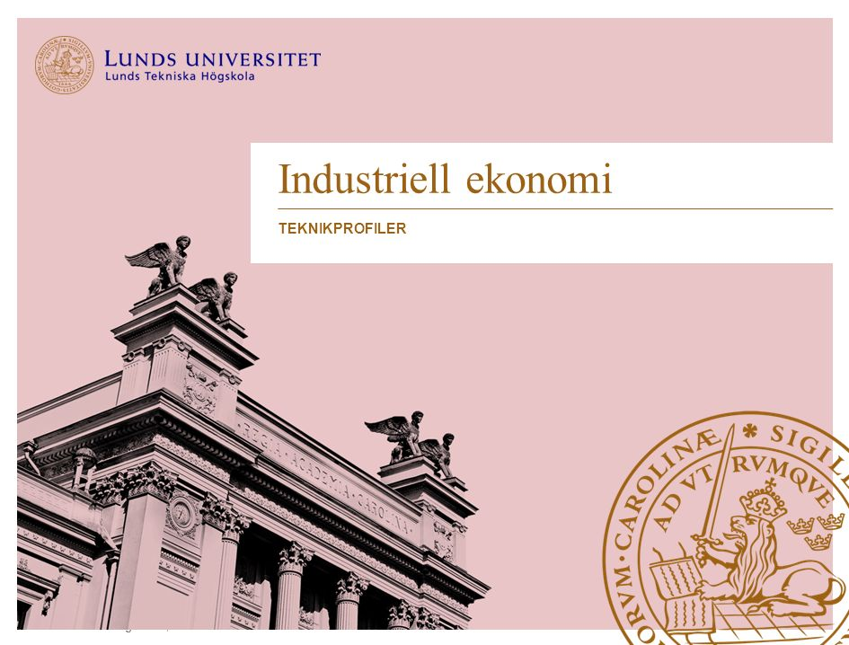 Lunds Tekniska Högskola | Industriell ekonomi Industriell ekonomi TEKNIKPROFILER