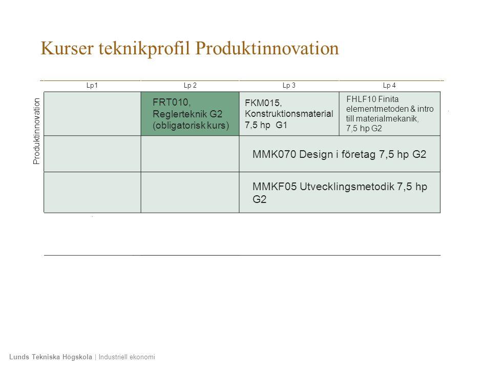 Lunds Tekniska Högskola | Industriell ekonomi Kurser teknikprofil Produktinnovation Lp1Lp 2Lp 3Lp 4 Produktinnovation FRT010, Reglerteknik G2 (obligatorisk kurs) FKM015, Konstruktionsmaterial 7,5 hp G1 FHLF10 Finita elementmetoden & intro till materialmekanik, 7,5 hp G2 MMK070 Design i företag 7,5 hp G2 MMKF05 Utvecklingsmetodik 7,5 hp G2 ´