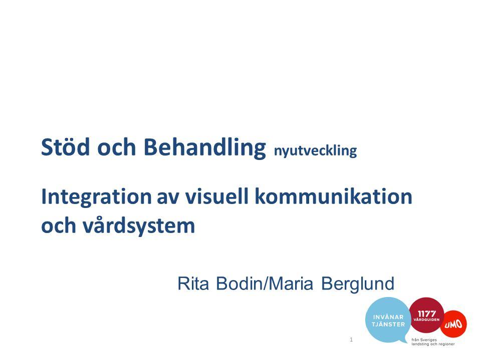 Stöd och Behandling nyutveckling Integration av visuell kommunikation och vårdsystem 1 Rita Bodin/Maria Berglund