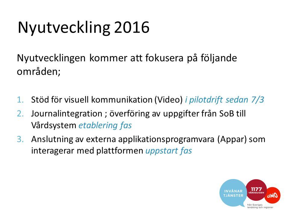 Nyutveckling 2016 Nyutvecklingen kommer att fokusera på följande områden; 1.Stöd för visuell kommunikation (Video) i pilotdrift sedan 7/3 2.Journalint