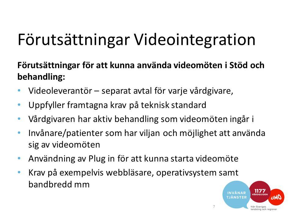 Förutsättningar Videointegration Förutsättningar för att kunna använda videomöten i Stöd och behandling: Videoleverantör – separat avtal för varje vår