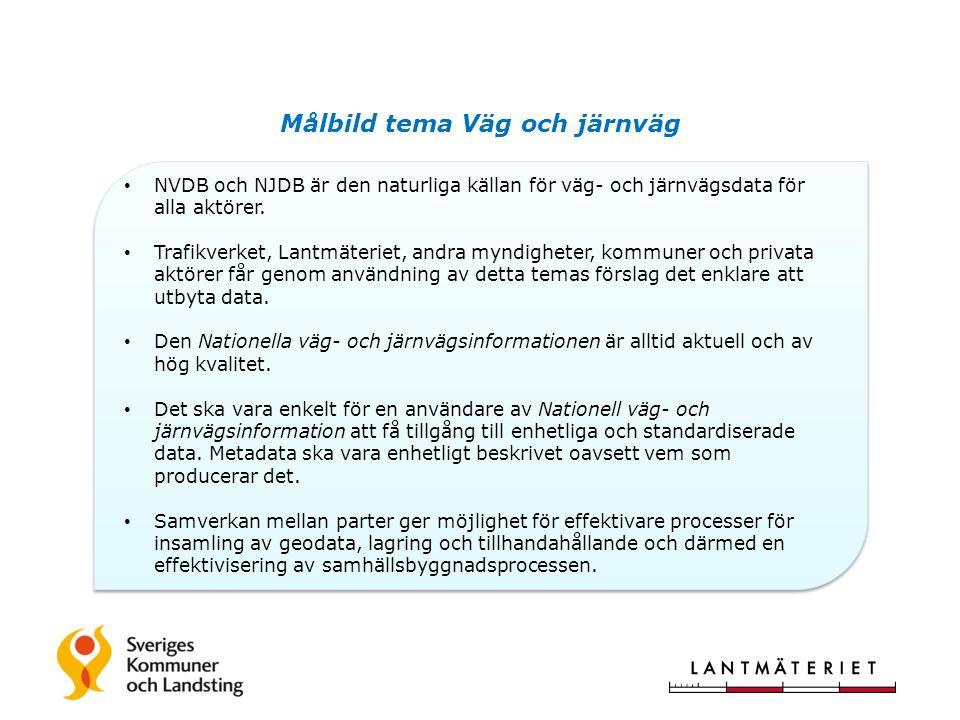 Målbild tema Väg och järnväg NVDB och NJDB är den naturliga källan för väg- och järnvägsdata för alla aktörer.