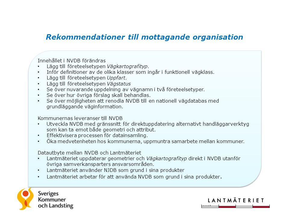 Rekommendationer till mottagande organisation Innehållet i NVDB förändras Lägg till företeelsetypen Vägkartografityp.