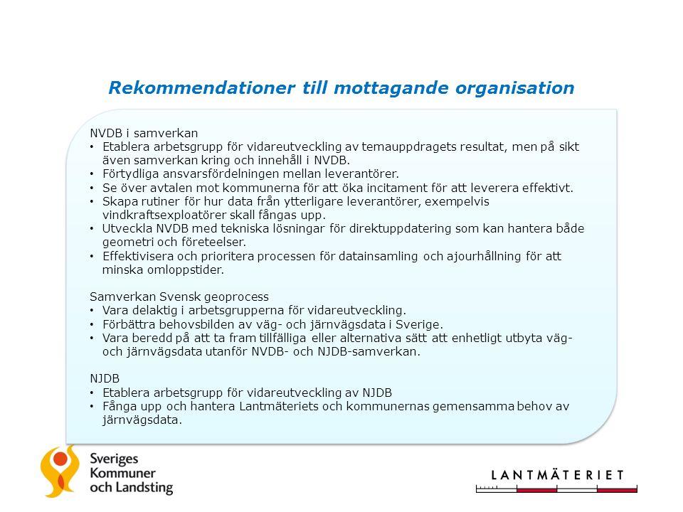 Rekommendationer till mottagande organisation NVDB i samverkan Etablera arbetsgrupp för vidareutveckling av temauppdragets resultat, men på sikt även samverkan kring och innehåll i NVDB.