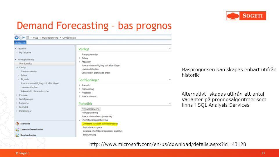 © Sogeti Demand Forecasting – bas prognos 11 Basprognosen kan skapas enbart utifrån historik Alternativt skapas utifrån ett antal Varianter på prognosalgoritmer som finns i SQL Analysis Services http://www.microsoft.com/en-us/download/details.aspx?id=43128