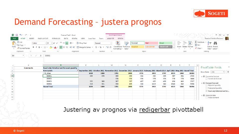 © Sogeti Demand Forecasting – justera prognos 12 Justering av prognos via redigerbar pivottabell