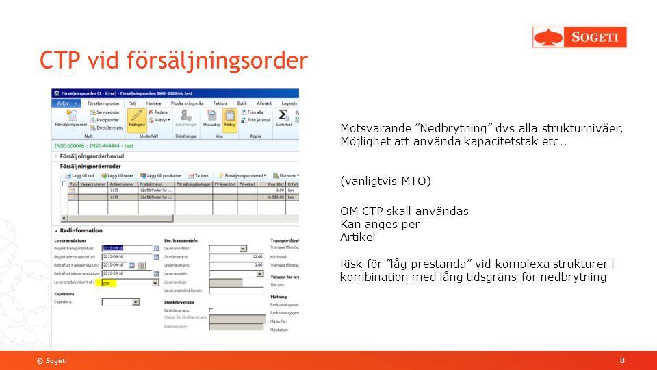© Sogeti CTP vid försäljningsorder 8 Motsvarande Nedbrytning dvs alla strukturnivåer, Möjlighet att använda kapacitetstak etc..