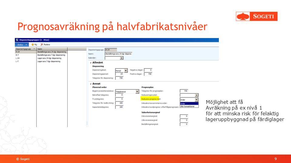 © Sogeti Prognosavräkning på halvfabrikatsnivåer 9 Möjlighet att få Avräkning på ex nivå 1 för att minska risk för felaktig lageruppbyggnad på färdigl