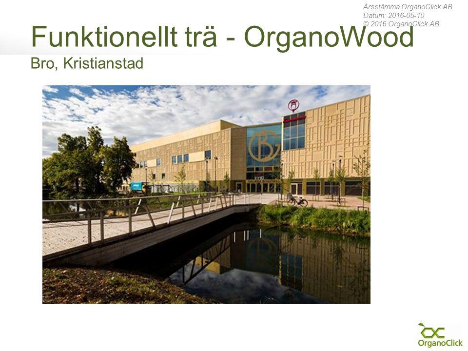 Funktionellt trä - OrganoWood Bro, Kristianstad Årsstämma OrganoClick AB Datum: 2016-05-10 © 2016 OrganoClick AB