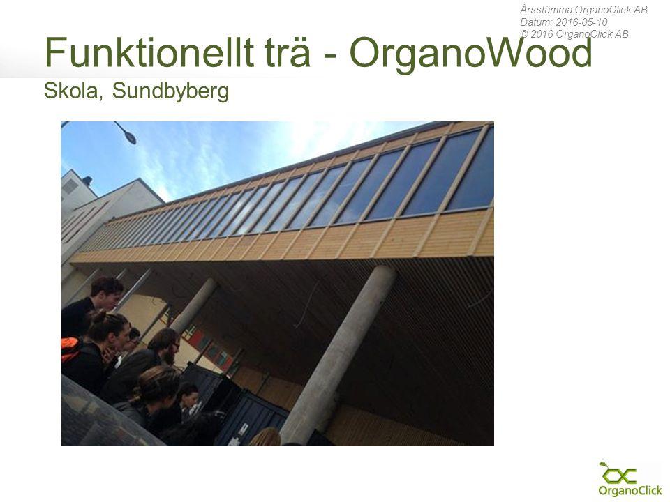 Funktionellt trä - OrganoWood Skola, Sundbyberg Årsstämma OrganoClick AB Datum: 2016-05-10 © 2016 OrganoClick AB