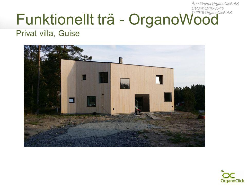 Funktionellt trä - OrganoWood Privat villa, Guise Årsstämma OrganoClick AB Datum: 2016-05-10 © 2016 OrganoClick AB