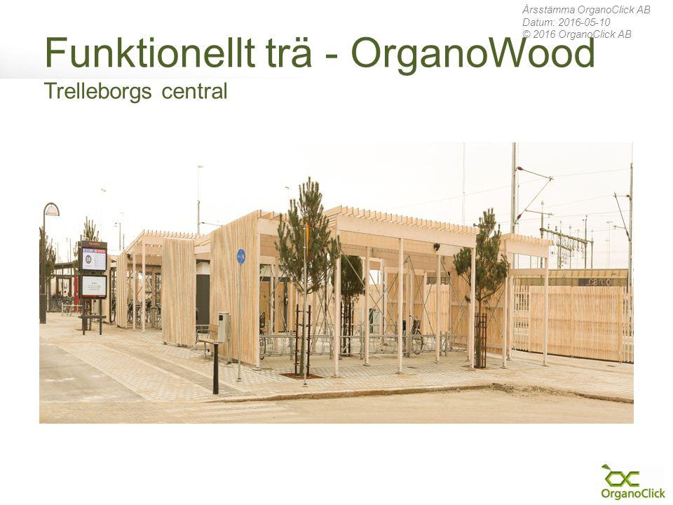 Funktionellt trä - OrganoWood Trelleborgs central Årsstämma OrganoClick AB Datum: 2016-05-10 © 2016 OrganoClick AB