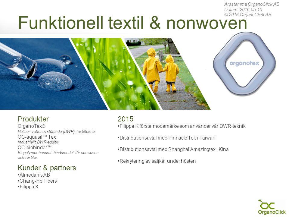 Funktionell textil & nonwoven 2015 Filippa K första modemärke som använder vår DWR-teknik Distributionsavtal med Pinnacle Tek i Taiwan Distributionsav