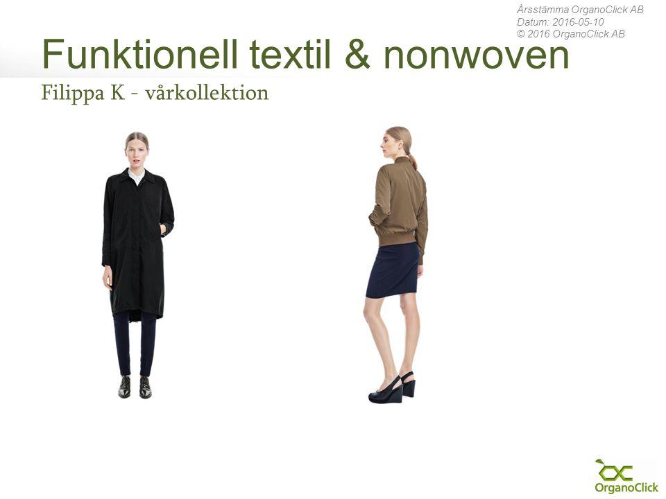 Funktionell textil & nonwoven Filippa K - vårkollektion Årsstämma OrganoClick AB Datum: 2016-05-10 © 2016 OrganoClick AB
