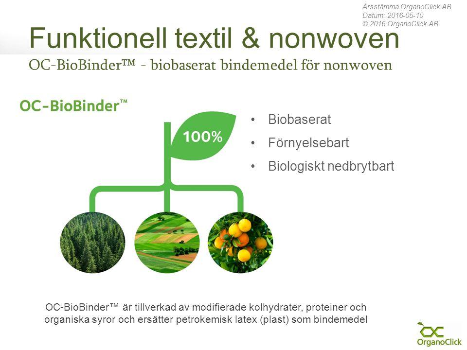 Funktionell textil & nonwoven OC-BioBinder™ - biobaserat bindemedel för nonwoven Årsstämma OrganoClick AB Datum: 2016-05-10 © 2016 OrganoClick AB Biob