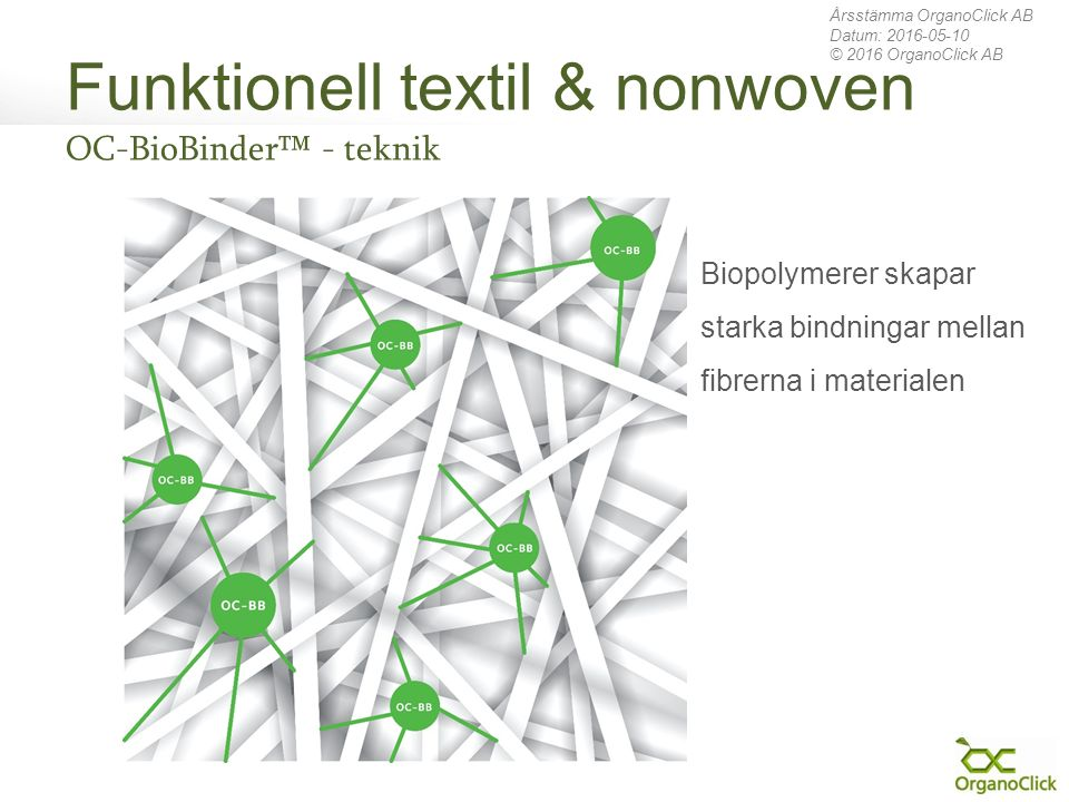 Funktionell textil & nonwoven OC-BioBinder™ - teknik Årsstämma OrganoClick AB Datum: 2016-05-10 © 2016 OrganoClick AB Biopolymerer skapar starka bindningar mellan fibrerna i materialen