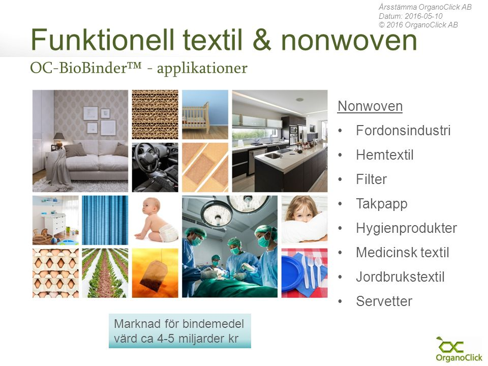 Funktionell textil & nonwoven OC-BioBinder™ - applikationer Årsstämma OrganoClick AB Datum: 2016-05-10 © 2016 OrganoClick AB Nonwoven Fordonsindustri