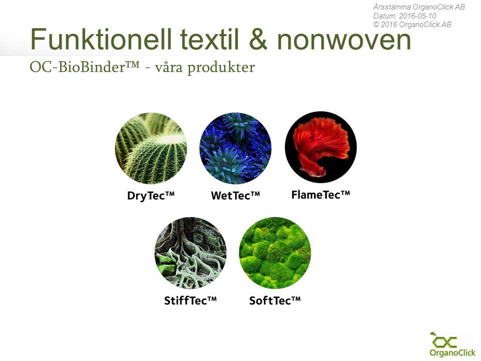 Funktionell textil & nonwoven OC-BioBinder™ - våra produkter Årsstämma OrganoClick AB Datum: 2016-05-10 © 2016 OrganoClick AB