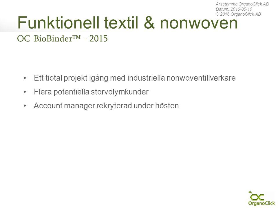 Funktionell textil & nonwoven OC-BioBinder™ - 2015 Årsstämma OrganoClick AB Datum: 2016-05-10 © 2016 OrganoClick AB Ett tiotal projekt igång med indus