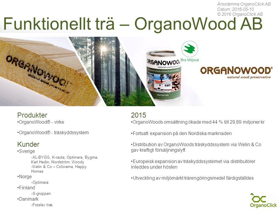 Funktionellt trä – OrganoWood AB 2015 OrganoWoods omsättning ökade med 44 % till 29,89 miljoner kr Fortsatt expansion på den Nordiska marknaden Distribution av OrganoWoods träskyddssystem via Welin & Co gav kraftigt försäljningslyft Europeisk expansion av träskyddssystemet via distributörer inleddes under hösten Utveckling av miljömärkt trärengöringsmedel färdigställdes Produkter OrganoWood® - virke OrganoWood® - träskyddssystem Kunder Sverige - XL-BYGG, K-rauta, Optimera, Bygma, Karl Hedin, Nordström, Woody -Welin & Co – Colorama, Happy Homes Norge - Optimera Finland - S-gruppen Danmark - Frøslev træ Årsstämma OrganoClick AB Datum: 2016-05-10 © 2016 OrganoClick AB
