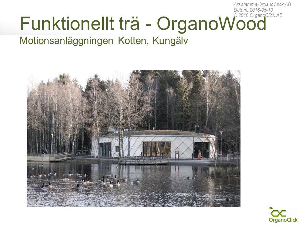 Funktionellt trä - OrganoWood Motionsanläggningen Kotten, Kungälv Årsstämma OrganoClick AB Datum: 2016-05-10 © 2016 OrganoClick AB