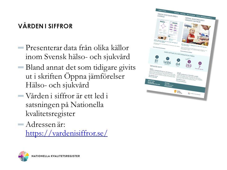 VÅRDEN I SIFFROR Presenterar data från olika källor inom Svensk hälso- och sjukvård Bland annat det som tidigare givits ut i skriften Öppna jämförelse