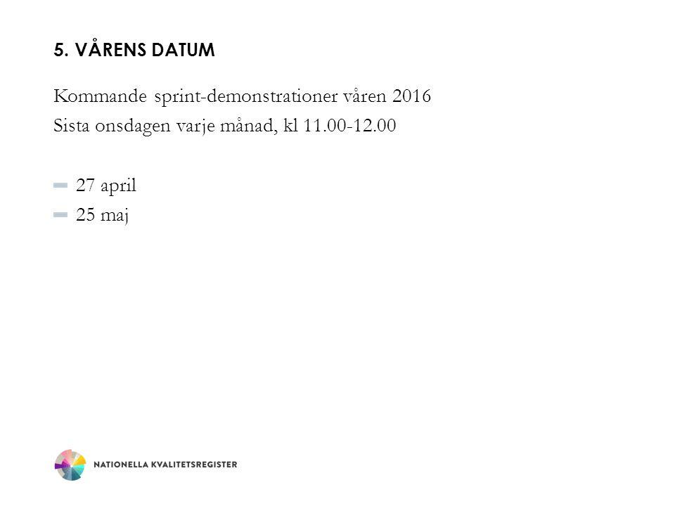 5. VÅRENS DATUM Kommande sprint-demonstrationer våren 2016 Sista onsdagen varje månad, kl 11.00-12.00 27 april 25 maj