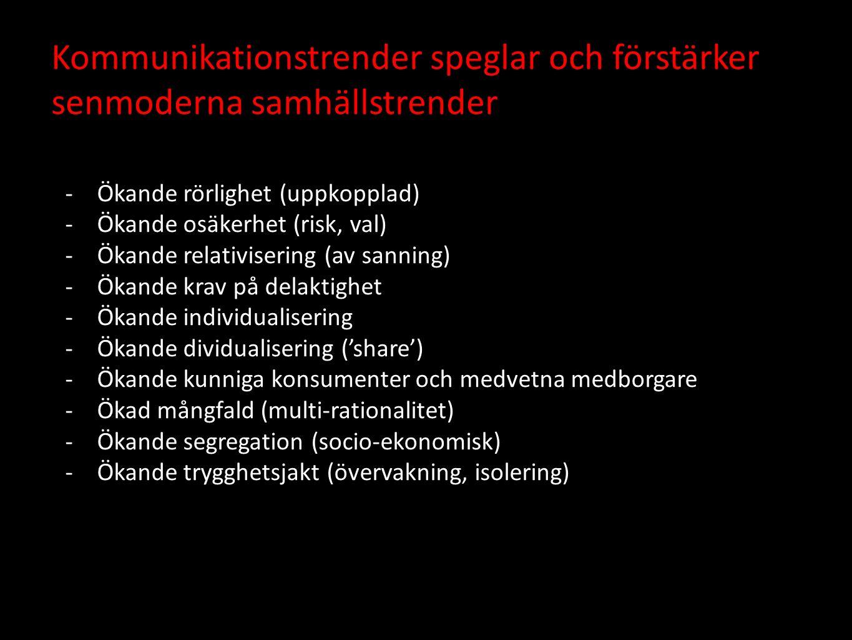 Kommunikationstrender speglar och förstärker senmoderna samhällstrender -Ökande rörlighet (uppkopplad) -Ökande osäkerhet (risk, val) -Ökande relativisering (av sanning) -Ökande krav på delaktighet -Ökande individualisering -Ökande dividualisering ('share') -Ökande kunniga konsumenter och medvetna medborgare -Ökad mångfald (multi-rationalitet) -Ökande segregation (socio-ekonomisk) -Ökande trygghetsjakt (övervakning, isolering)