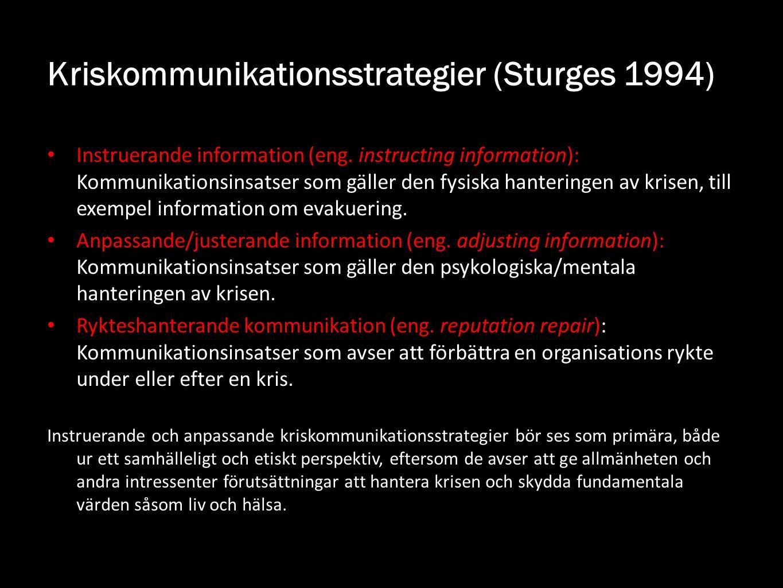 Kriskommunikationsstrategier (Sturges 1994) Instruerande information (eng. instructing information): Kommunikationsinsatser som gäller den fysiska han