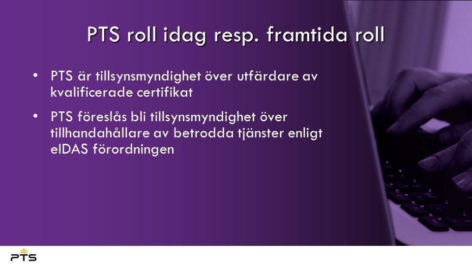 Pågående arbete PTS har ett regeringsuppdrag i regleringsbrevet för 2016 att arbeta med en sömlös övergång från signaturlagen till eIDAS-förordningen I praktiken pågår arbete med Att bygga upp kompetens Etablera processer och rutiner för arbetet Identifiera behov av nationellt regelverk och påbörja arbetet med föreskrifter