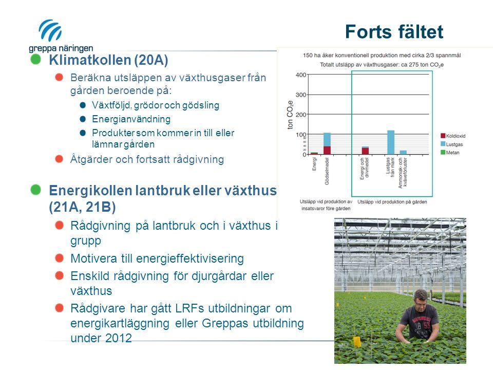 Forts fältet Klimatkollen (20A) Beräkna utsläppen av växthusgaser från gården beroende på: Växtföljd, grödor och gödsling Energianvändning Produkter som kommer in till eller lämnar gården Åtgärder och fortsatt rådgivning Energikollen lantbruk eller växthus (21A, 21B) Rådgivning på lantbruk och i växthus i grupp Motivera till energieffektivisering Enskild rådgivning för djurgårdar eller växthus Rådgivare har gått LRFs utbildningar om energikartläggning eller Greppas utbildning under 2012