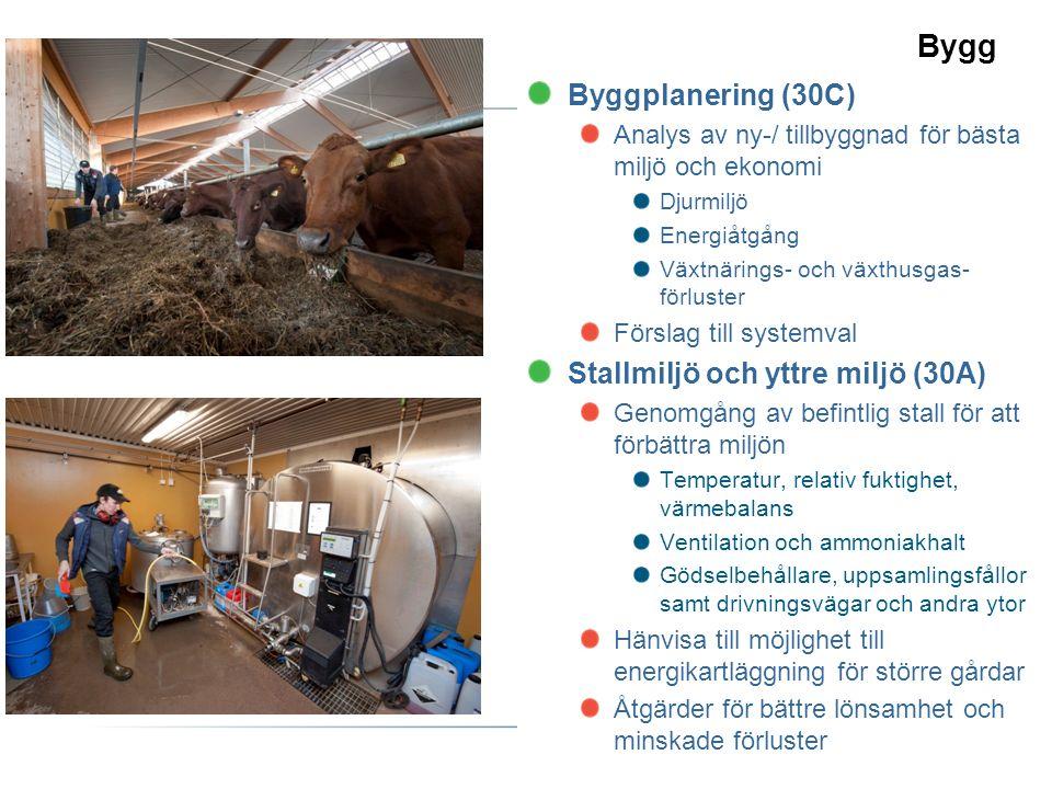 Bygg Byggplanering (30C) Analys av ny-/ tillbyggnad för bästa miljö och ekonomi Djurmiljö Energiåtgång Växtnärings- och växthusgas- förluster Förslag till systemval Stallmiljö och yttre miljö (30A) Genomgång av befintlig stall för att förbättra miljön Temperatur, relativ fuktighet, värmebalans Ventilation och ammoniakhalt Gödselbehållare, uppsamlingsfållor samt drivningsvägar och andra ytor Hänvisa till möjlighet till energikartläggning för större gårdar Åtgärder för bättre lönsamhet och minskade förluster