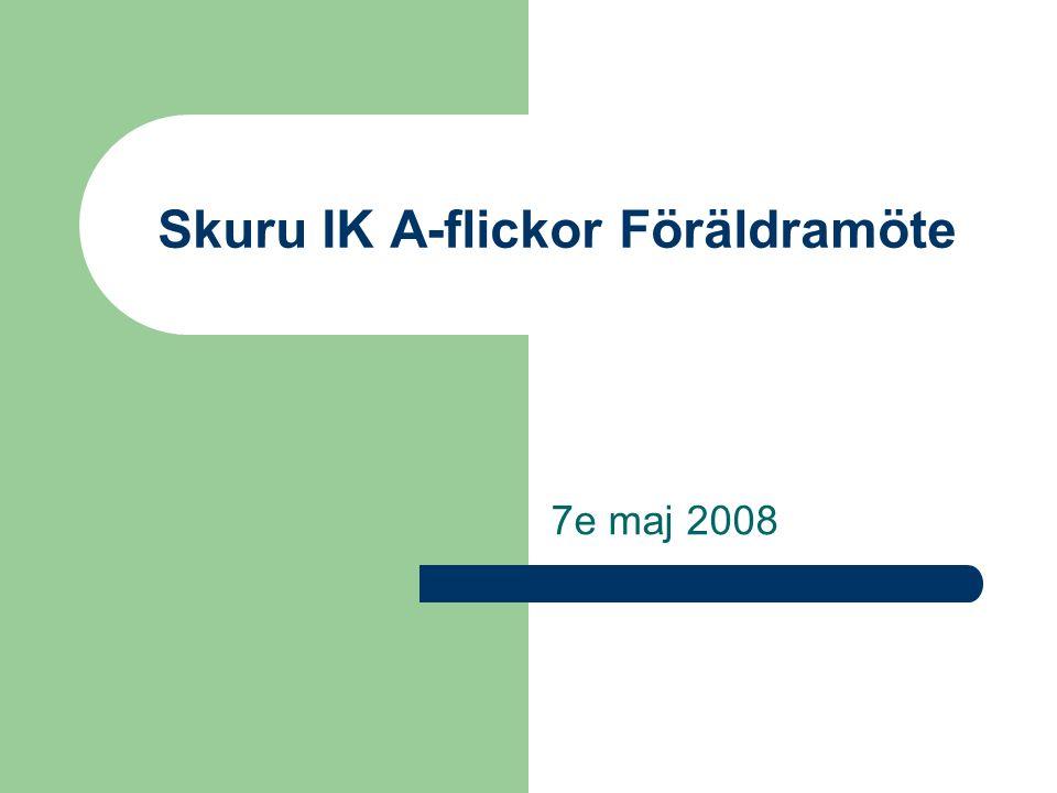 Skuru IK A-flickor Föräldramöte 7e maj 2008