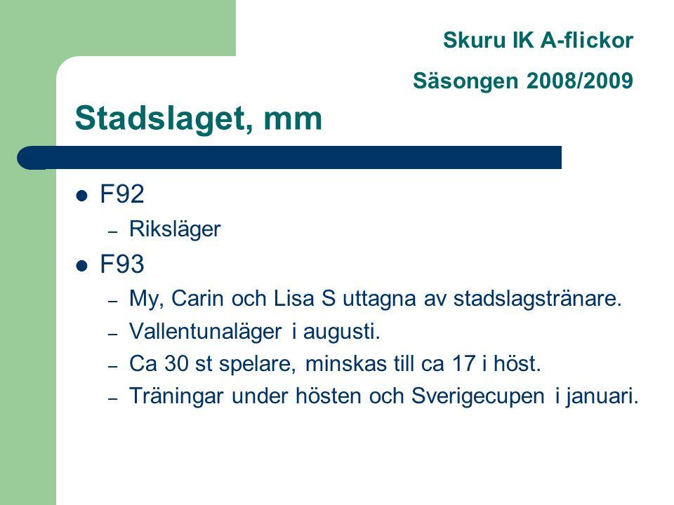 Skuru IK A-flickor Säsongen 2008/2009 Stadslaget, mm F92 – Riksläger F93 – My, Carin och Lisa S uttagna av stadslagstränare.