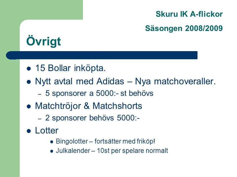 Skuru IK A-flickor Säsongen 2008/2009 Övrigt 15 Bollar inköpta.