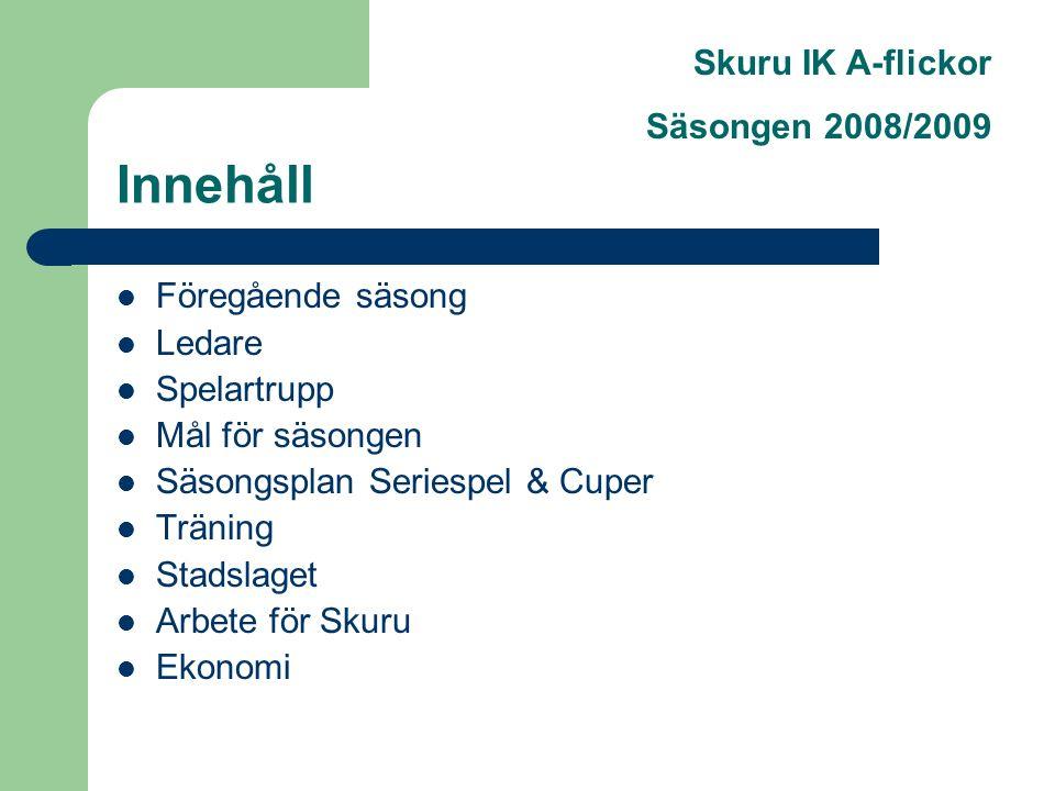 Skuru IK A-flickor Säsongen 2008/2009 Innehåll Föregående säsong Ledare Spelartrupp Mål för säsongen Säsongsplan Seriespel & Cuper Träning Stadslaget Arbete för Skuru Ekonomi