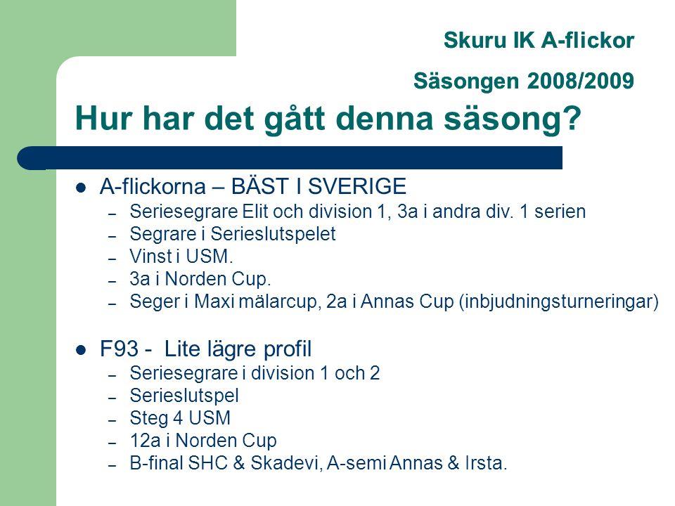 Skuru IK A-flickor Säsongen 2008/2009 Hur har det gått denna säsong.