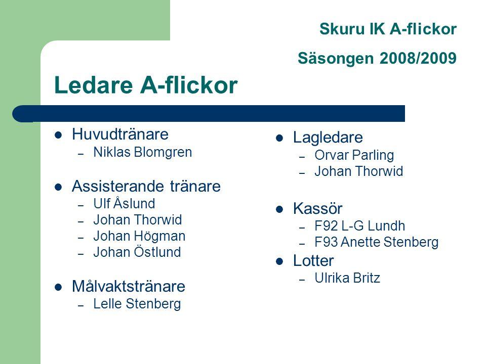 Skuru IK A-flickor Säsongen 2008/2009 Ledare A-flickor Huvudtränare – Niklas Blomgren Assisterande tränare – Ulf Åslund – Johan Thorwid – Johan Högman – Johan Östlund Målvaktstränare – Lelle Stenberg Lagledare – Orvar Parling – Johan Thorwid Kassör – F92 L-G Lundh – F93 Anette Stenberg Lotter – Ulrika Britz