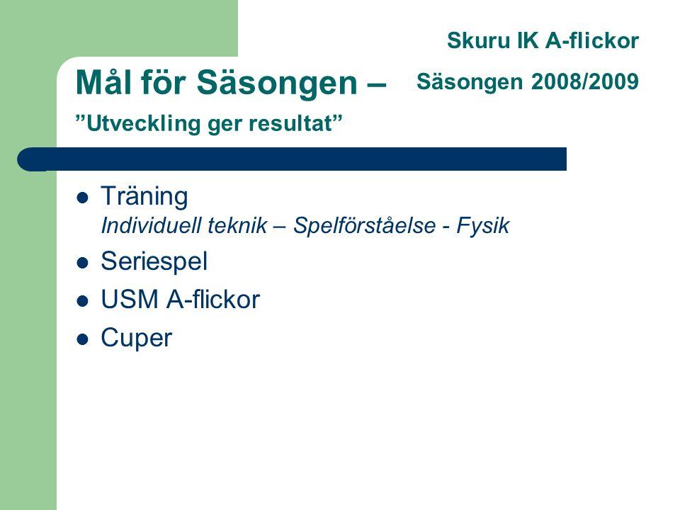Skuru IK A-flickor Säsongen 2008/2009 Mål för Säsongen – Utveckling ger resultat Träning Individuell teknik – Spelförståelse - Fysik Seriespel USM A-flickor Cuper