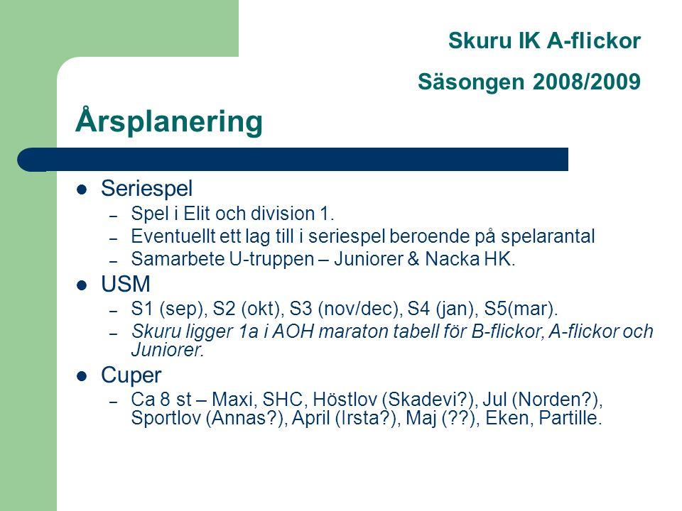 Skuru IK A-flickor Säsongen 2008/2009 Årsplanering Seriespel – Spel i Elit och division 1.