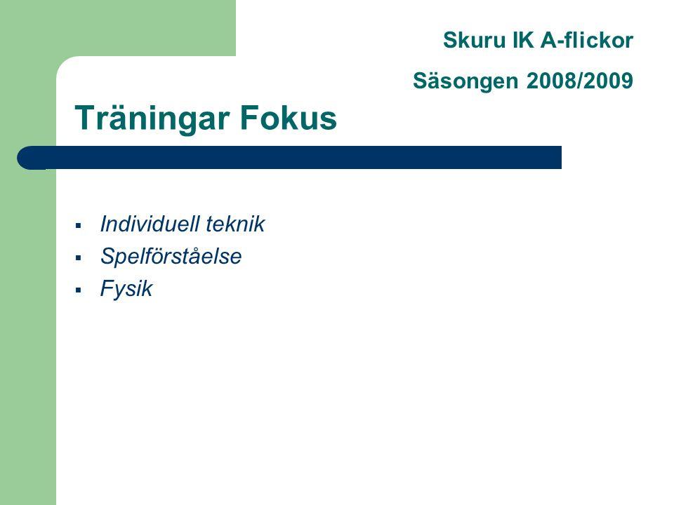 Skuru IK A-flickor Säsongen 2008/2009 Träningar Fokus  Individuell teknik  Spelförståelse  Fysik