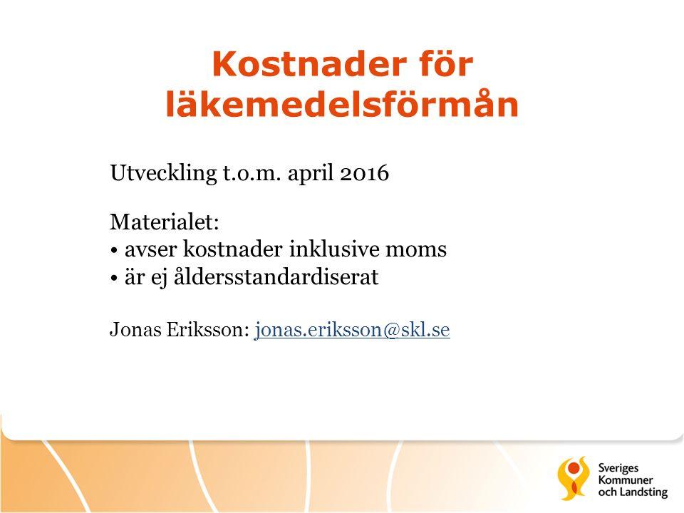 Kostnader för läkemedelsförmån Utveckling t.o.m. april 2016 Materialet: avser kostnader inklusive moms är ej åldersstandardiserat Jonas Eriksson: jona