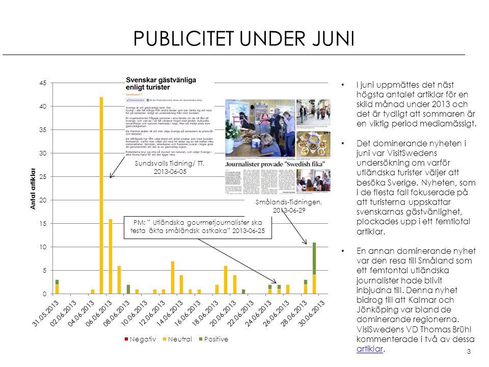 PUBLICITET UNDER JUNI 3 PM: Utländska gourmetjournalister ska testa äkta småländsk ostkaka 2013-06-25 I juni uppmättes det näst högsta antalet artiklar för en skild månad under 2013 och det är tydligt att sommaren är en viktig period mediamässigt.