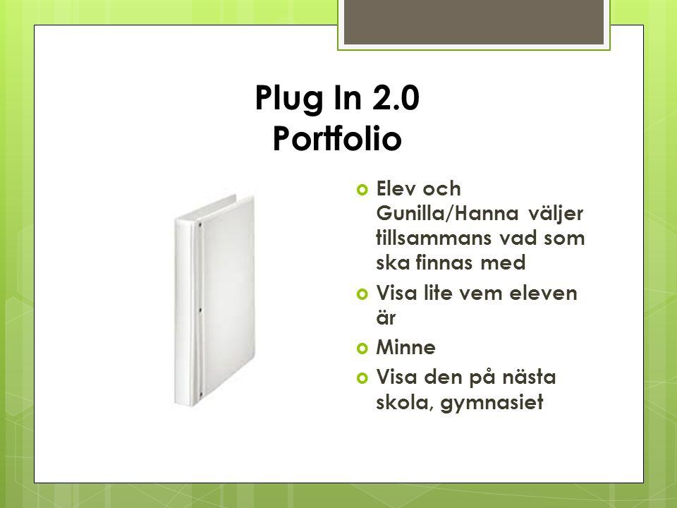 Plug In 2.0 Portfolio  Elev och Gunilla/Hanna väljer tillsammans vad som ska finnas med  Visa lite vem eleven är  Minne  Visa den på nästa skola, gymnasiet