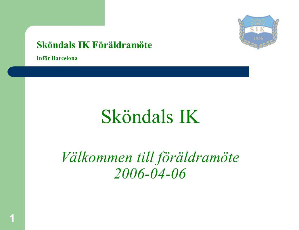 1 Sköndals IK Välkommen till föräldramöte 2006-04-06 Sköndals IK Föräldramöte Inför Barcelona