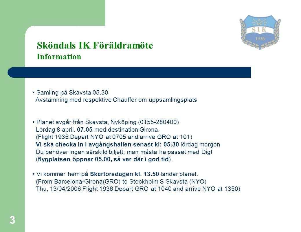3 Samling på Skavsta 05.30 Avstämning med respektive Chaufför om uppsamlingsplats Planet avgår från Skavsta, Nyköping (0155-280400) Lördag 8 april.