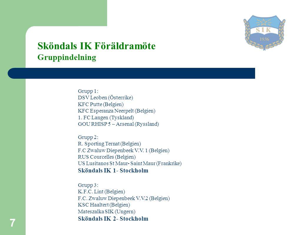 7 Sköndals IK Föräldramöte Gruppindelning Grupp 1: DSV Leoben (Österrike) KFC Putte (Belgien) KFC Esperanza Neerpelt (Belgien) 1.
