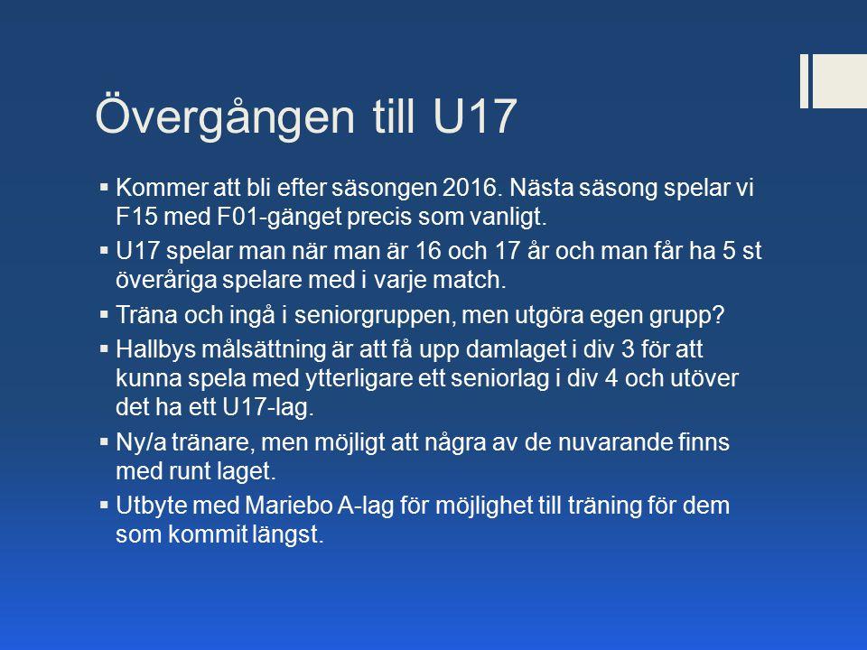 Övergången till U17  Kommer att bli efter säsongen 2016. Nästa säsong spelar vi F15 med F01-gänget precis som vanligt.  U17 spelar man när man är 16