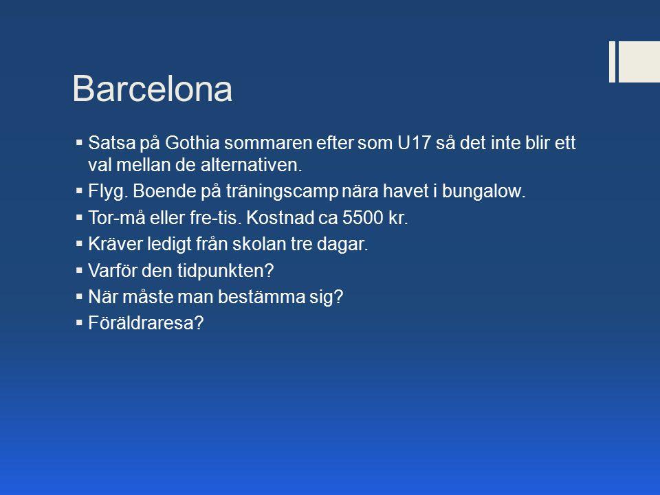 Barcelona  Satsa på Gothia sommaren efter som U17 så det inte blir ett val mellan de alternativen.  Flyg. Boende på träningscamp nära havet i bungal